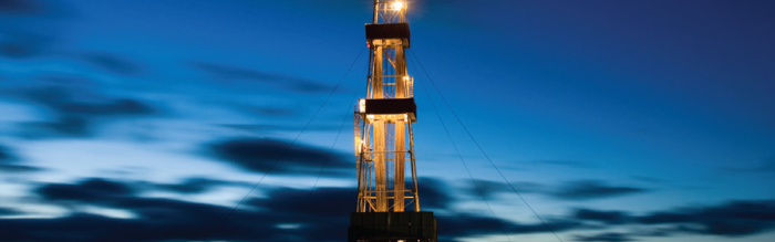 fracking well at dusk